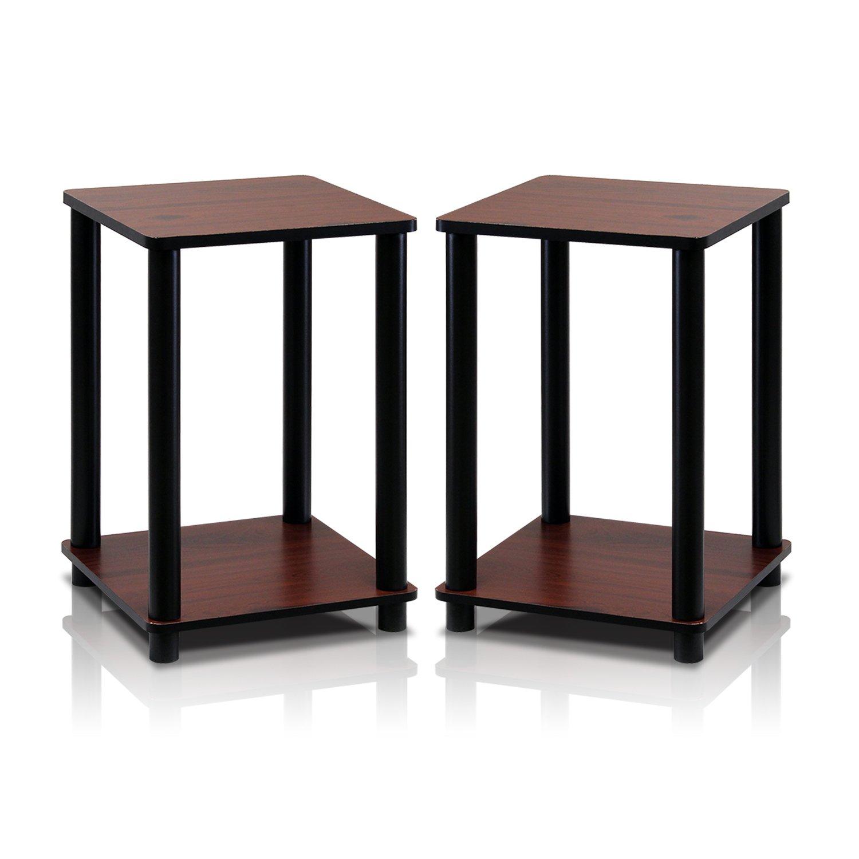 Furinno 2-99800RDC Turn-N-Tube End Table Corner Shelves, Set of 2, Dark Cherry/Black by Furinno