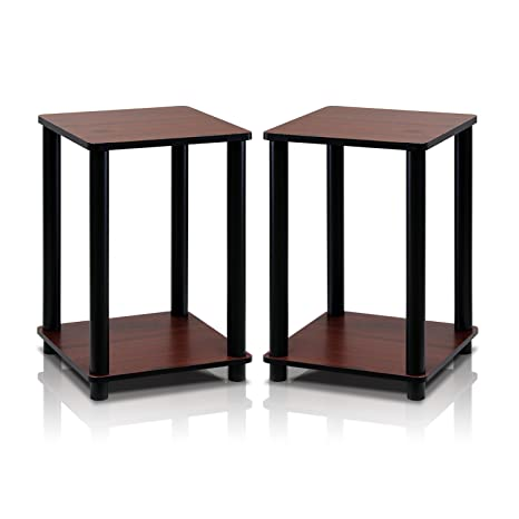 Amazoncom Furinno RDC TurnNTube End Table Corner Shelves - Black corner end table