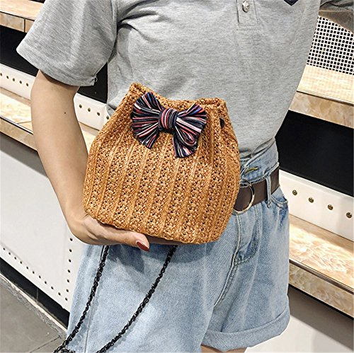 Three Woven Bag Bag Bag Color Chain Bucket Bag Messenger Fashion Bag Straw Portable Rrock Hand Bow Women's Brown Shoulder YwqaaA