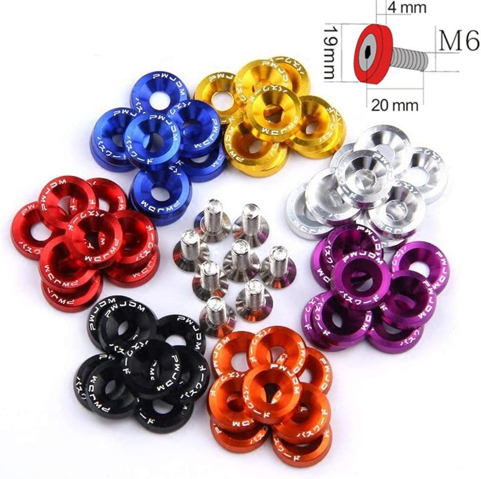 Color : Purple LKSPD 10PCS M6 Car Styling Universal Modification Sticker Stickers Password Fender Washer License Plate Bolts Auto Accessories