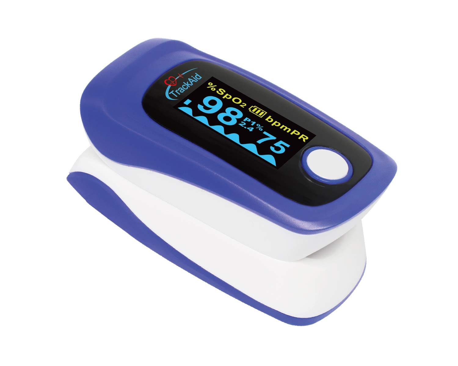 TrackAid Premium Portable Finger Oxygen Saturation and Pulse Rate Monitor with Plethysmograph and Perfusion Index