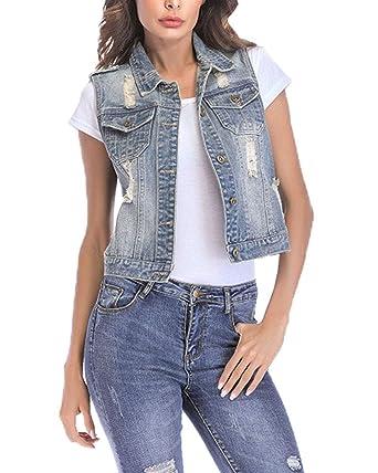 5ae3acf1d88064 Aden Damen Loch BF Stil Ausfransen Weste Jacke Ärmellos Einfache Beiläufige  Jeansweste mit Ziertaschen: Amazon.de: Bekleidung