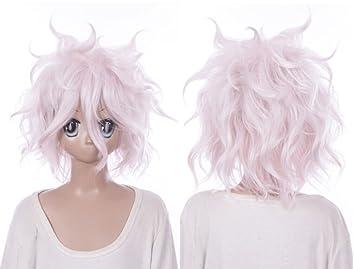 W de 600 Dangerous anronpa 2 nagito komaeda Blanco Rosa Mix 34 cm Cosplay peluca Wig
