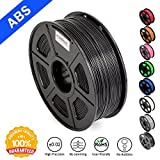 ABS Filaments for 3D Printer-SUNLU Black ABS Filament 1.75 mm,Low Odor Dimensional Accuracy +/- 0.02 mm 3D Printing Filament,2.2 LBS (1KG) Spool 3D Printer Filament for 3D Printers & 3D Pens,Black