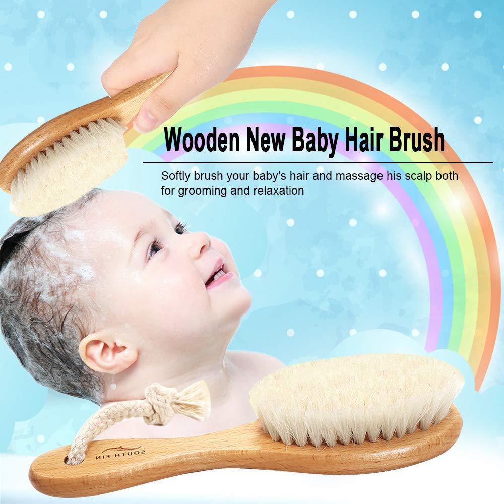 Lebeaut S/ÜSSEN FIN Holz Baby Haarb/ürste f/ür Neugeborene S/äuglingshaar Kamm Weiche Wolle Haar Kopfhaut Massage Baby Wiege Kappe Pflege Haarb/ürste