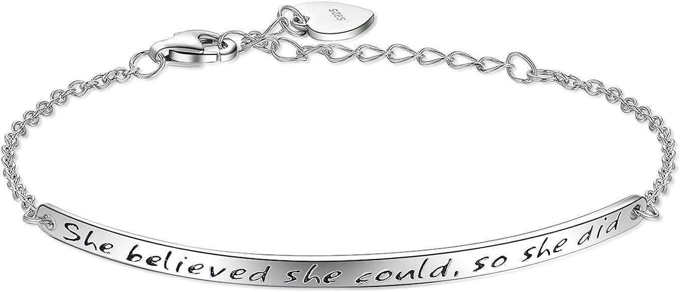 """cf93d5be0ed80c Billie Bijoux 925 Sterling Silver Women Engraved Inspirational Adjustable  Bracelet """"She Believed She Could"""