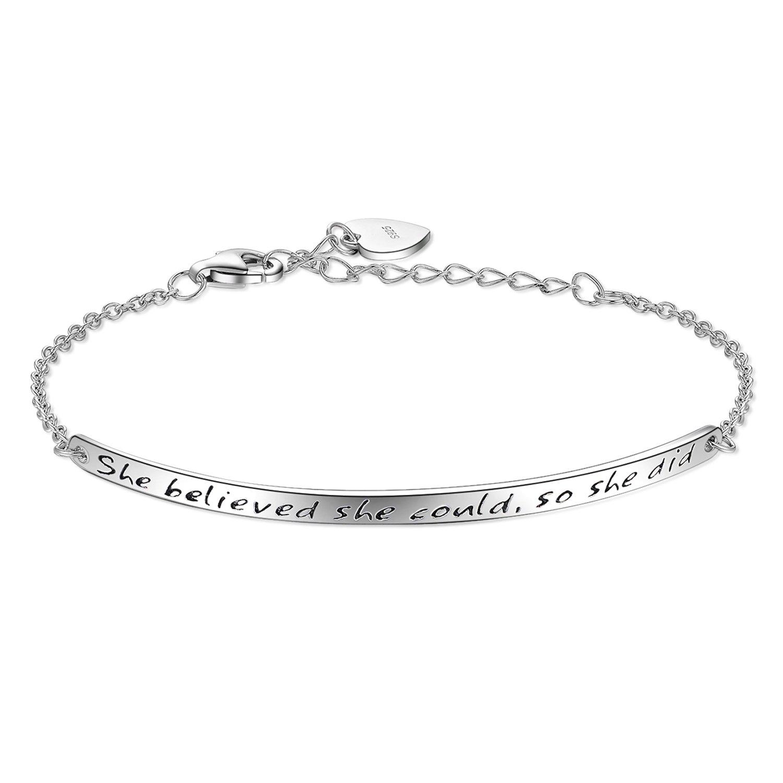 "Billie Bijoux 925 Sterling Silver Engraved Inspirational Adjustable Bracelet ""She Believed She Could So She Did"" Gift for Her, Women, Friendship"