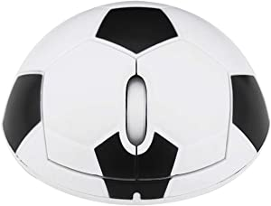 CHUYI Ergonomic Design Cool Soccer Shape 2.4GHz Wireless Optical Mouse Portable Office Football Mice with USB Receiver for PC Computer Laptop Funny Gift