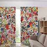 iPrint Children's Room Curtains Thermal Insulated BlackoutCurtain Window Curtains,Kinds of Newpaper Magazine Letters Cutouts 108Wx108L Inch
