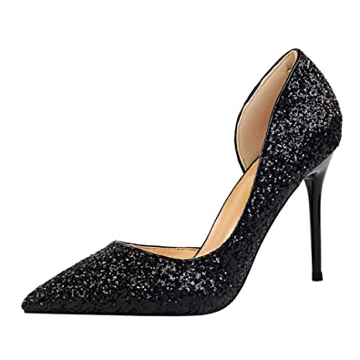 1270f4329 Sandals Court Shoes Women Ladies High Heel Stiletto Platform Sparkly Glitter  Studded Bling Gold Silver Comfy
