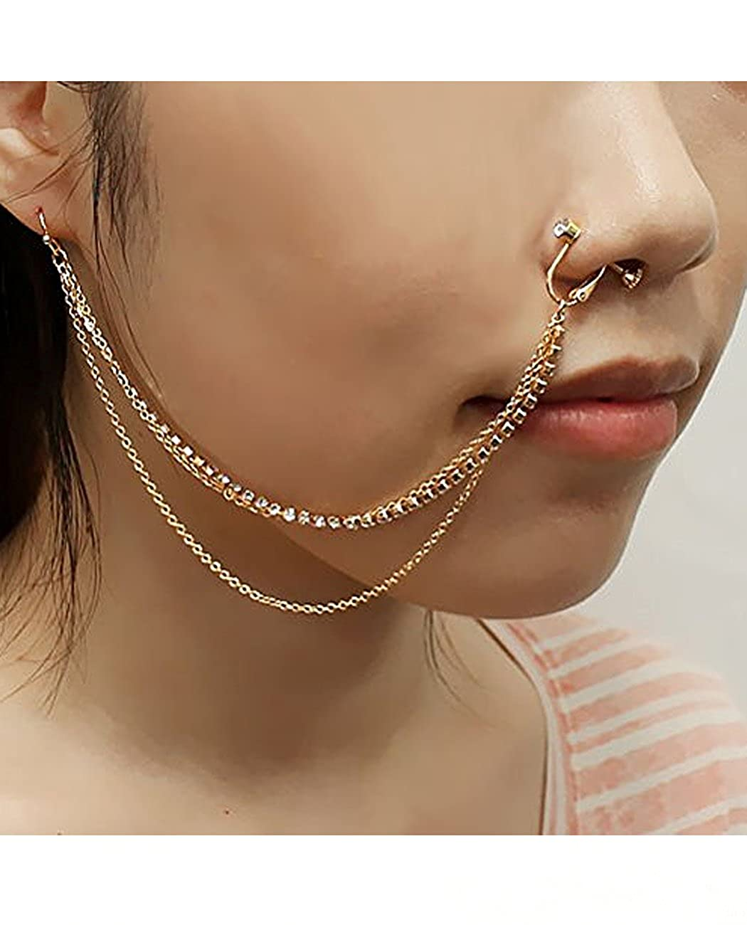 Pierced Hook Earring To Clip On Nose Hoop Ring w/ Triple Strand Stone Stud Chain in Gold-Tone NYfashion101 PE1077GDCLR