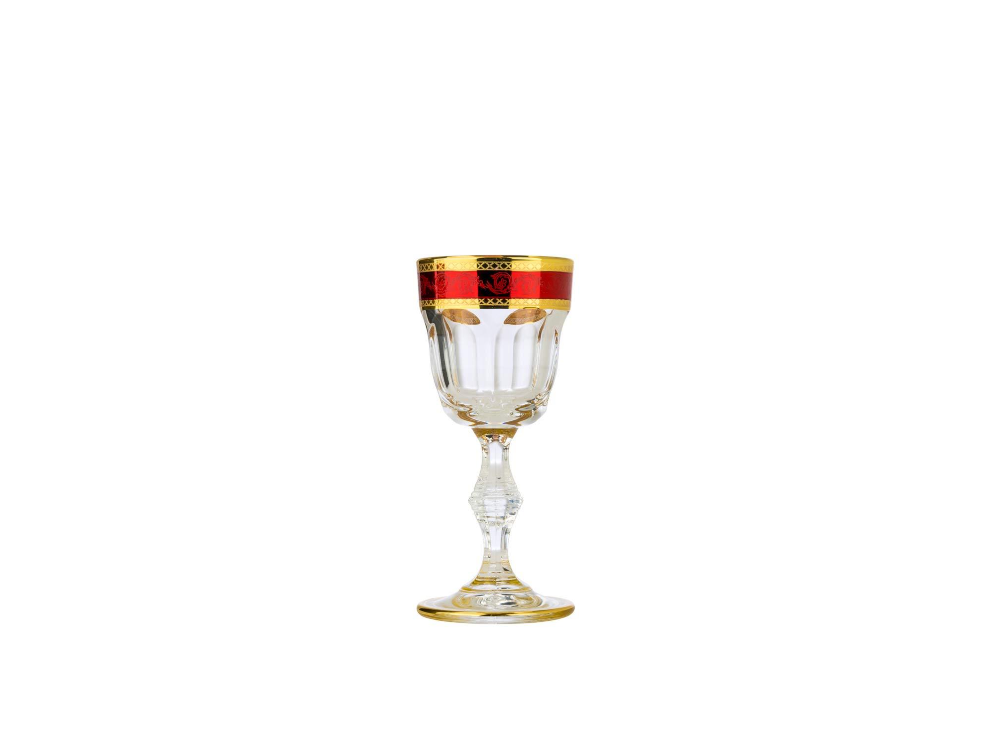 Art Decor A1047, 1 Oz Vintage Liquor Glasses, Provenza Antique Shot Glasses w/Multicolor Gold Rim, Set of 6