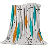 Europen Retro Prismatic Modern Mid Century Flannel Fleece Throw Blanket Home Decorative Warm Plush Cozy Soft Blankets for Chair/Bed/Couch/Sofa All Season Blanket for Child and Adults (50x80in)