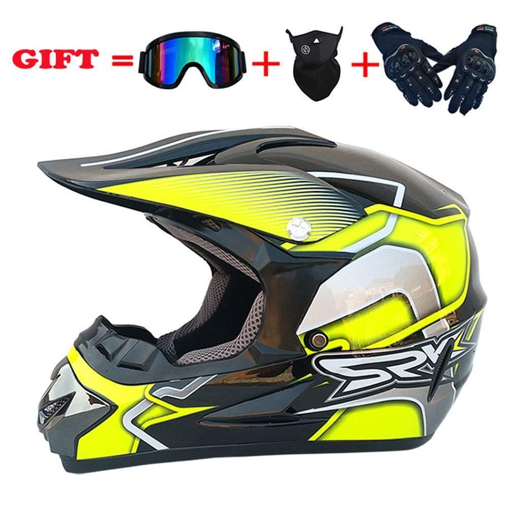 スポーツモトクロスヘルメット、四季普遍的な大人のオフロードバイククロスヘルメット、DOTマウンテンバイクフルフェイスヘルメットセット4 L XL、赤、M,黄色、大
