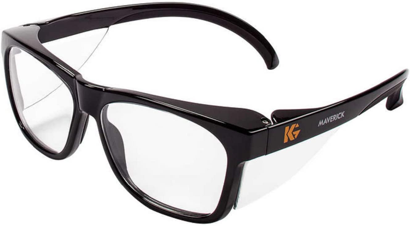 KLEENGUARD Kleenguard Maverick Safety Glasses with Intergrated Side Shields (1 Pair) (49309 Clear Anti-Fog Lens with Black Frame)