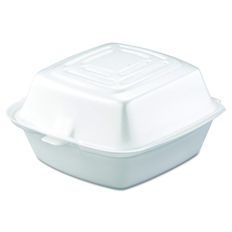 Dart 50HT1 Foam 5 Inch Medium White Hinged Container. Pack 50