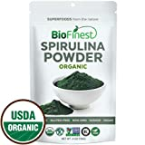 Biofinest Spirulina Powder - 100% Pure Freeze-Dried Vitamins Superfood - USDA Certified Organic Raw Vegan Non-GMO - Boost Digestion Detox Weight Loss - For Smoothie Beverage Blend -4 oz Resealable Bag