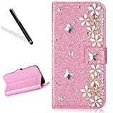Galaxy J3 2016 Diamand Case,Bling Glitter Folio Case for Samsung J3 2016,Leeook Luxury Noble Sparkle Shining Pink Butterfly Flower Pattern PU Leather Wallet Flip Case in Book Style with Card Slots Cash Holder Stand Function Butterfly Magnetic Closure TPU Silicone Inner Protect Cover for Samsung Galaxy J3 2016 + 1 x Black Stylus