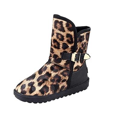 ZODOF Botas de Nieve para Mujer Calzado Plano con Estampado de Leopardo de Punta Redonda para