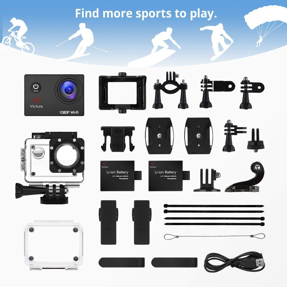 Victure Action Camera Full HD 1080P WiFi Waterproof Underwater Camcorder 2 LCD 170 Degree Ultra Wide Angle 30 m Sports Helmet Cam with 2 Batteries and Free Accessories by Victure (Image #9)