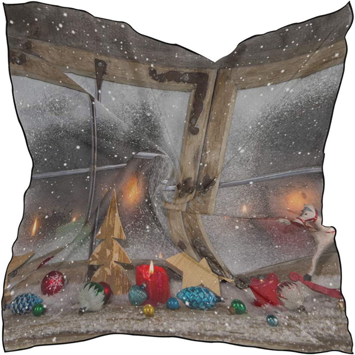 Soft Polyester Silk Outdoor Scarves Fashion Print Shiny Christmas Wooden Window Head Scarf Wrap Hair Scarf Large Women Head Scarves Multiple Ways Of Wearing Daily Decor