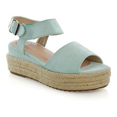 6a8ca2119 ESSEX GLAM Womens Platform Espadrilles Ladies Wedge Heel Peep Toe Summer  Sandals (5 B(