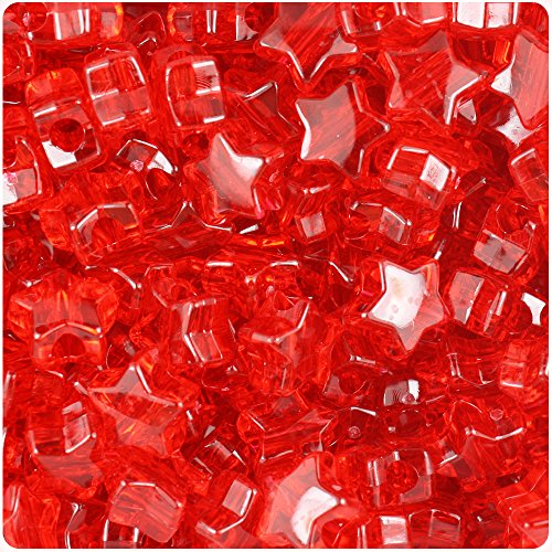 BeadTin Ruby Transparent 13mm Star Pony Beads (250pcs)