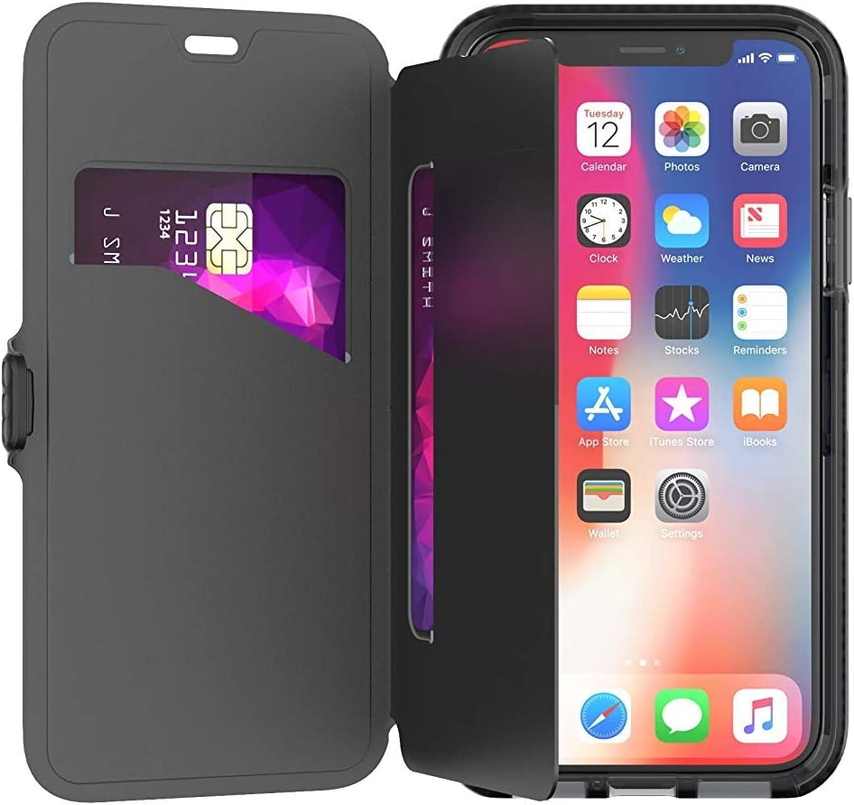 tech21 Evo Wallet for Apple iPhone Xs Max Card Holder Phone Case with Stand Function and 12 ft. Drop Protection- Black