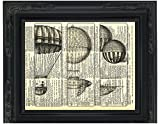 Dictionary Art Print - Steampunk 3 Hot Air Balloons - Printed on Recycled Vintage Dictionary Paper - 8.5