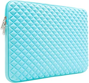 "RAINYEAR 14 Inch Laptop Sleeve Diamond Foam Shock Resistant Neoprene Padded Case Fluffy Lining Zipper Cover Bag Compatible with 14"" Notebook Computer Chromebook Tablet Ultrabook(Blue)"