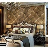 Blooming Wall 3d Faux Leather Backgound Textured Wall Pattern Wallpaper Roll for Livingroom Bedroom, 20.8 In32.8 Ft=57 Sq.ft (Gold)