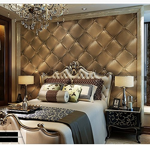 Blooming Wall 3d Faux Leather Backgound Textured Wall Pattern Wallpaper  Roll For Livingroom Bedroom, 20.8 In32.8 Ftu003d57 Sq.ft (Gold) Part 93