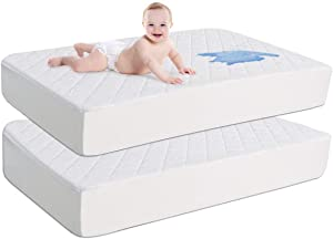 SINSAY 2 Pack 100% Waterproof Quilted Fitted Crib Mattress Protector, Ultra Soft Terry Baby Mattress Pad 28'' x 52'', Organic Bamboo Hypoallergenic Toddler Mattress Cover