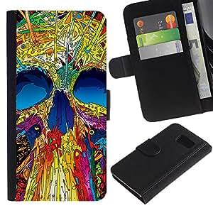 Paccase / Billetera de Cuero Caso del tirón Titular de la tarjeta Carcasa Funda para - Skull Neon Monster Positive Art Skeleton - Samsung Galaxy S6 SM-G920