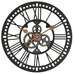 Roman Gear Wall Clock - 24 Oil Rubbed BronzeDimensions: 3D x 24 Diameter Weight: 4 lbs.