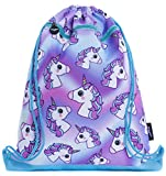 FRINGOO Kids Drawstring Bag with Front Zipped Pocket PE Kit Bag School Backpack (L:34cm*H:42,5cm, Hologram...