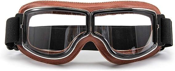 Evomosa Motorradbrille Motorräder Retro Pilot Nebelsichere Brille Atv Bike Motocross Brille Schutzbrille Transparente Linse Auto
