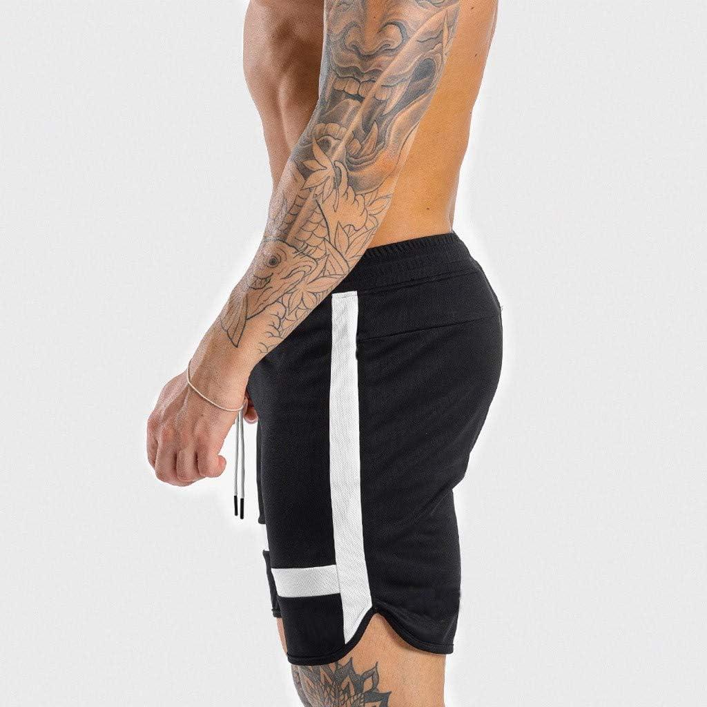 RTYou Mens Beach Shorts Drawstring Causal Striped Beach Shorts with Elastic Waist Lightweight Summer Sports Short Pants