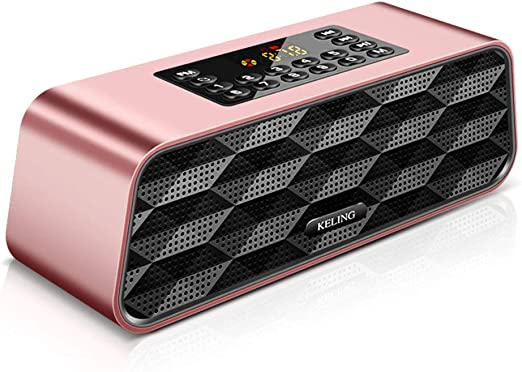 Iash Speaker Altavoz Bluetooth portátil Reproductor de MP3 Caja de Sonido Sonido estéreo con Controladores de Bajos Dobles,Pink: Amazon.es: Hogar