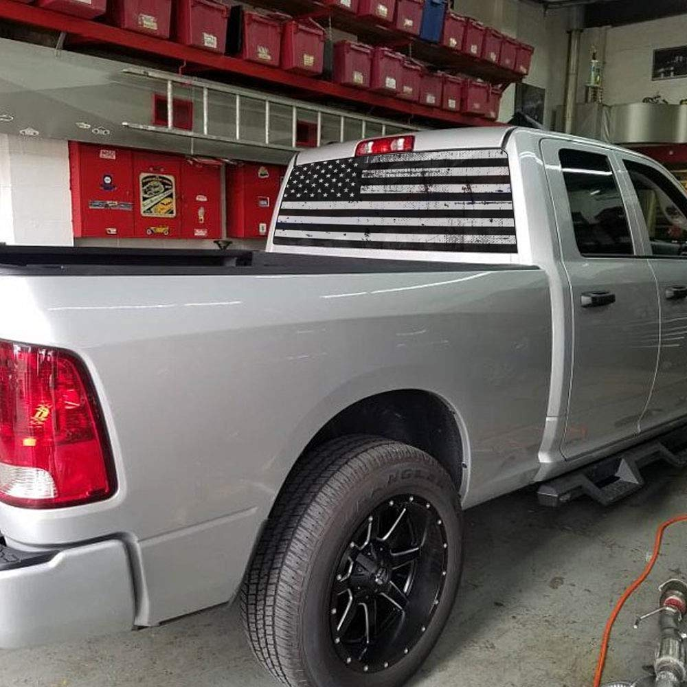 XPLORE OFFROAD - American Flag Rear Window Decals (Distressed Black & White) by XPLORE OFFROAD (Image #2)