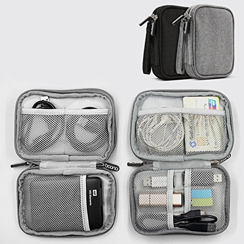 Honeystore Universal Double Layer Travel Gear Organizer Portable Electronic Accessories Storage Case Gadgets Organizer Bag for iPad Mini, USB Cable, Plug, Flash Drive, Charger, Earphone and More Black by Honeystore (Image #3)'