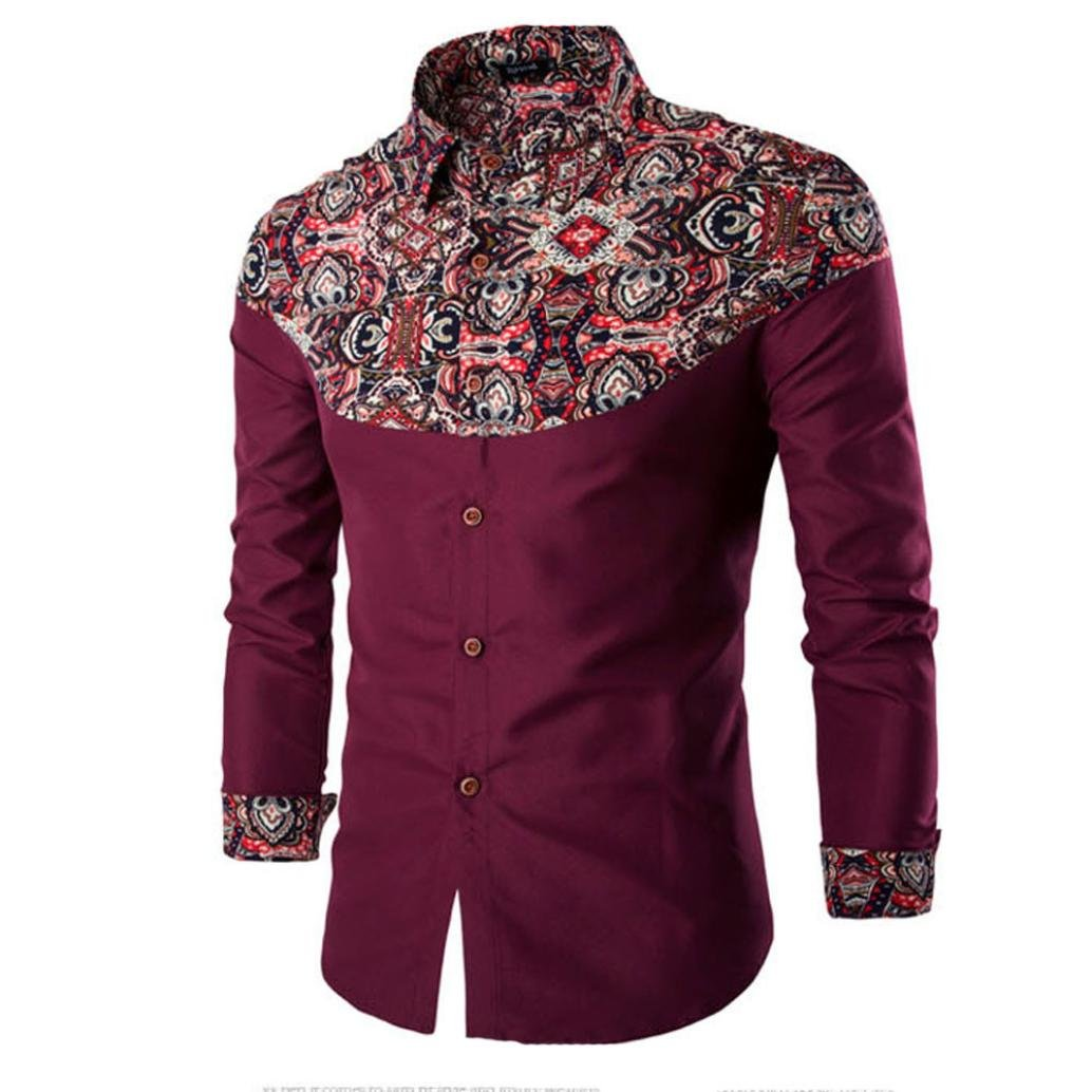 YANG-YI Mens Fashion Printing Long-Sleeved T-Shirt Blouse Wine Red)