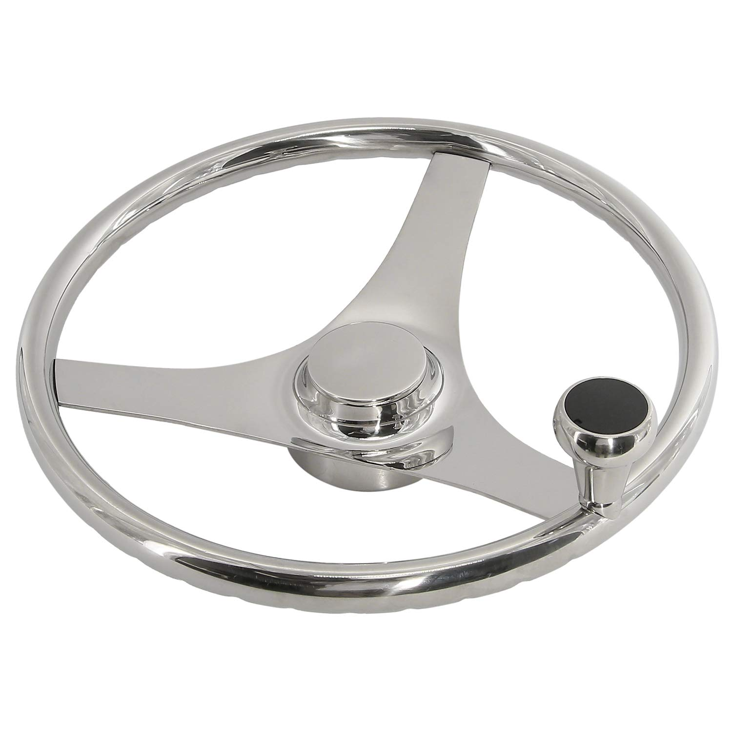 HYDDNice 3 Spoke Stainless Steel 15-1/2'' Boat Steering Wheel with Finger Grip Keyed to fit Standard 3/4'' Taper Shafts (15-1/2'') by HYDDNice