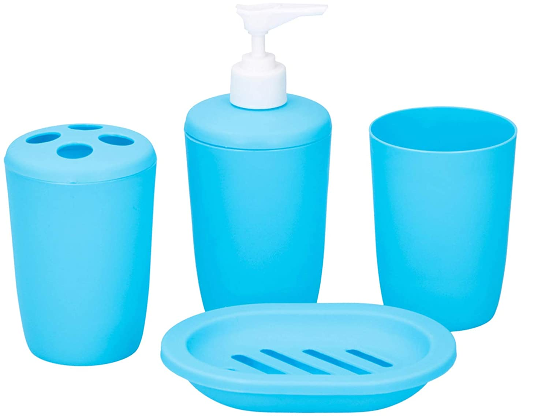 color: negro, tama/ño: 5 piezas MYBA Juego de 5 accesorios de ba/ño de acr/ílico con dispensador de jab/ón set de accesorios de ba/ño morado vaso//jabonera soporte para cepillo de dientes