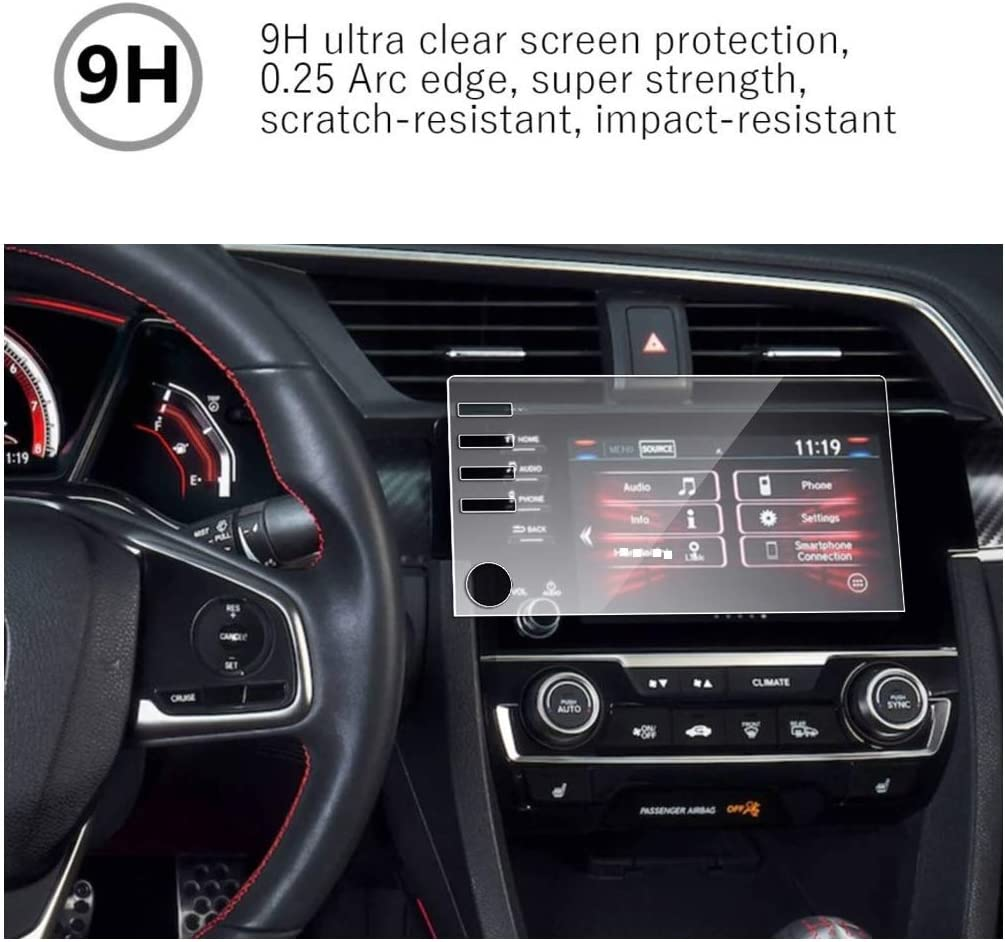 MBSIX Tempered Glass Screen Protector Compatible with 2019-2020 Honda Civic Si 4 Holes ,HD Clear,Scratch-Resistant,Anti Glare,Protecting 2020 Honda Civic Si Sedan Touchscreen