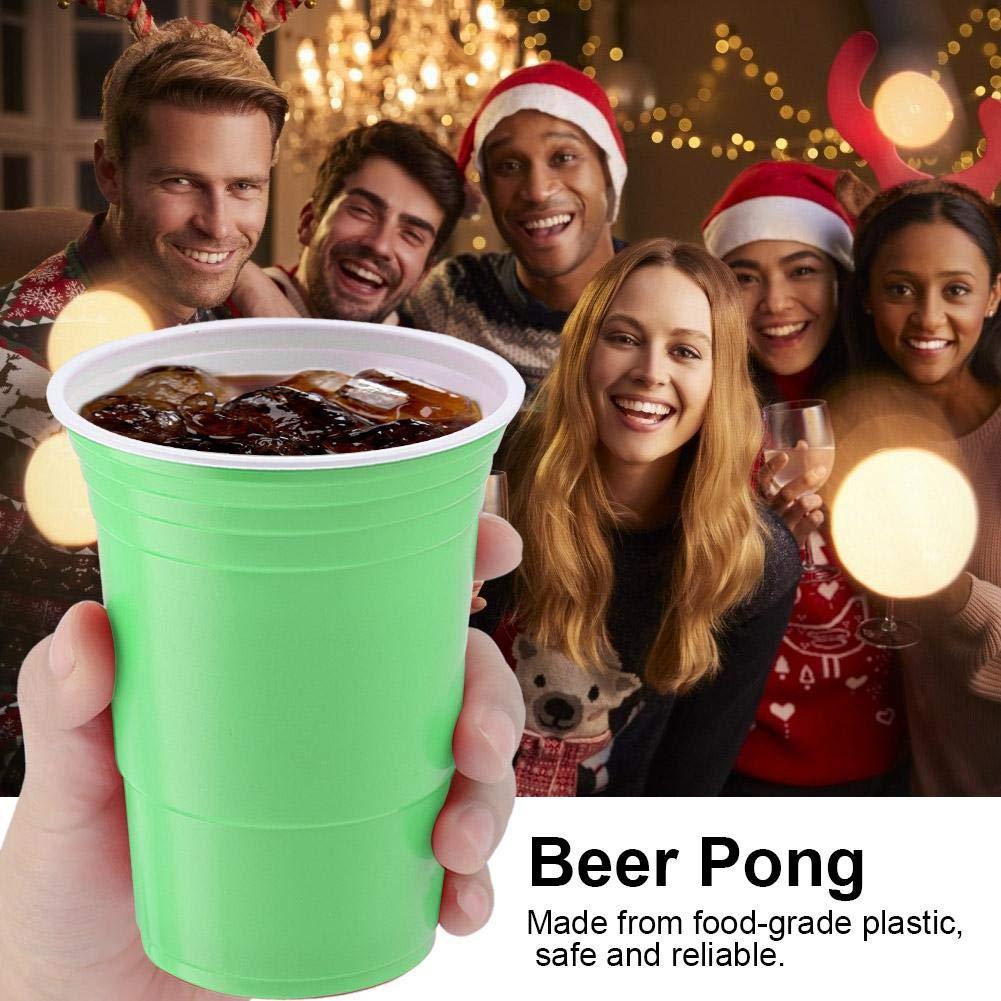 TOPINCN Set Bi/ère Pong Ensemble De Bi/ère /À Bi/ère Beer Pong Cups Coupes Ping Pong Rouge Jeu De Bi/ère Coupe Song Cup Party Bar Jeu Fournitures Plein Air Loisirs Jeu 450 ML 25 Pcs Vert