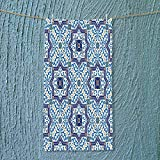 SOCOMIMI Fast Dry Towel Moroccan Portuguese Style Classic Tiles Ornaments Islamic Historical Buildings Art Blue Excellent Water Absorbent Antistatic