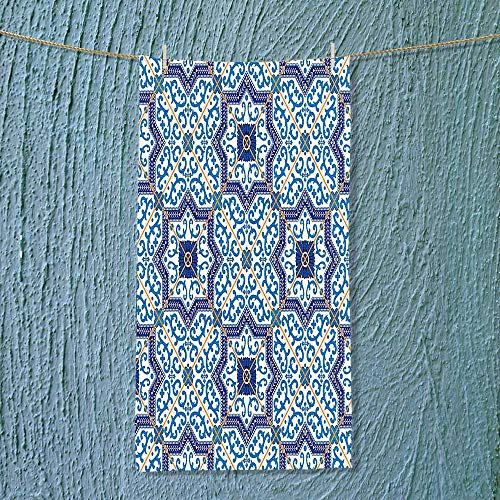 SOCOMIMI Fast Dry Towel Moroccan Portuguese Style Classic Tiles Ornaments Islamic Historical Buildings Art Blue Excellent Water Absorbent Antistatic by SOCOMIMI