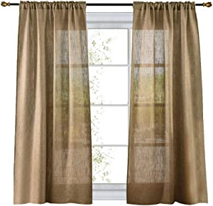 Valea Home Soft Burlap Natural Tan Rod Pocket Window Curtain Panels for Living Room, 37 inches x 63 inches, 1 Panel