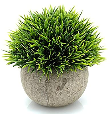 Leyaron Mini Plastic Fake Green Grass Small Artificial Potted Plants for Home Decor and Office